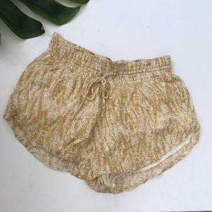 O'Neill mustard leaf print shorts medium